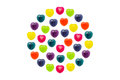 Heart candy set in full circle shape for valentine confectionery is style on white background Royalty Free Stock Image
