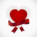 Heart card and ribbon decorative with red banner on a white background Royalty Free Stock Photos
