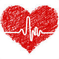 Heart with cardiogram Stock Photo