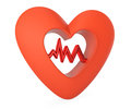 Heart with cardiogram graph on white background d rendered image Stock Image