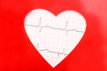 Heart cardiogram with heart on it electrocardiogram a red Stock Images