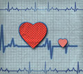 Heart cardiogram with two hearts on it Stock Image