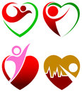 Heart care illustrated isolated logo design set Royalty Free Stock Images