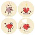 Heart cartoon icon. Heart attack, a declaration of love, education, a broken heart. Vector Royalty Free Stock Photo