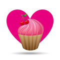heart cartoon pink cupcake sweet cherry icon design