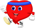 Heart cartoon running to keep healthy illustration of Stock Photos