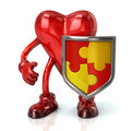 Heart character and puzzle shield