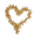 Heart from christmas golden tinsel isolated on a white background Stock Images