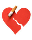 Heart and cigarette butt Stock Photos