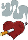 Heart and cigarette cartoon pierced by Royalty Free Stock Photography