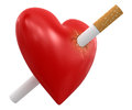 Heart with cigarette clipping path included image Stock Photo