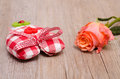 Heart of cloth with flower of a rose orange Royalty Free Stock Image