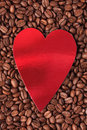 Heart with coffee beans Stock Photography