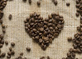 Heart with coffee beans Royalty Free Stock Images