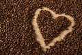 Heart in coffee beans on bag Royalty Free Stock Photography