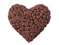 Heart from coffee beans on a white background Stock Photos