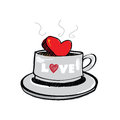 Heart in coffee cup Stock Photo