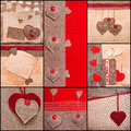 Heart collage Valentines love hearts set fabric old paper Stock Image