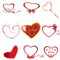 Heart collection isolated elements of romantic design Royalty Free Stock Photo