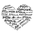 Heart composed of inscriptions in French `mon amour` in the style of craft. Hand painted.