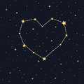 Heart constellation on starry sky