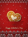 Heart cookie on knitted background jumper fragment with holiday gingerbread qualitative vector eps illustration for valentines day Royalty Free Stock Image