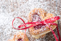 Heart cookies with Ribbon Royalty Free Stock Photo