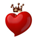 Heart with crown isolated on white Stock Photo