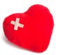 Heart of cuddly toys with patch on white background space for text Stock Photos