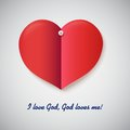 Heart cut out of paper with inscription i love god god loves me this is file eps format Stock Photo