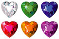 Heart cut precious stones with sparkle Stock Image