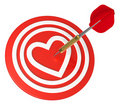 Heart on dart board with dart. Royalty Free Stock Photo