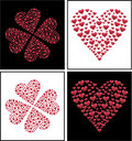 Heart design and 4 leaf clove heart shaped, Vector Stock Photo