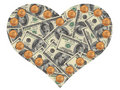 Heart of the dollars Royalty Free Stock Photos