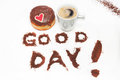 Heart donuts and coffee Royalty Free Stock Images