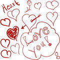 Heart doodles Stock Image