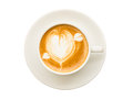 Heart drawing on cup of coffee isolated on white background Royalty Free Stock Photo