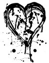 Heart drops of paint black sketch. Vintage Poster. Royalty Free Stock Photo