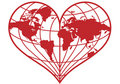 Heart earth globe,  Stock Images
