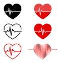 Heart and ECG - EKG signal set, Heart Beat pulse line concept d