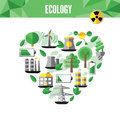 Heart with environmental icons in green . Vector file available. Royalty Free Stock Photo
