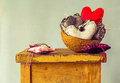 Heart filling coconut shell table of on a Stock Photography