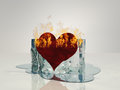 Heart on fire melting ice Stock Photo