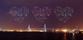 Heart Fireworks celebrating over Yokohama Bay Bridge at night Royalty Free Stock Photo