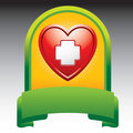 Heart with first aid icon in green display Stock Photos