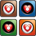 Heart with first aid icon in multicolored web icon Stock Images