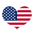 Heart with the flag of america icon, flat style. Isolated on white background. Vector illustration.
