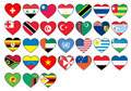 Heart flags set Stock Photography