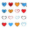 Heart flat and line icon trendy bright modern colors