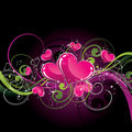 Heart and floral background Stock Photos